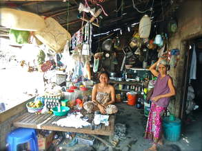 Two Cambodian women in a grocery shop