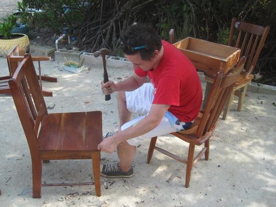 Repairing school furniture