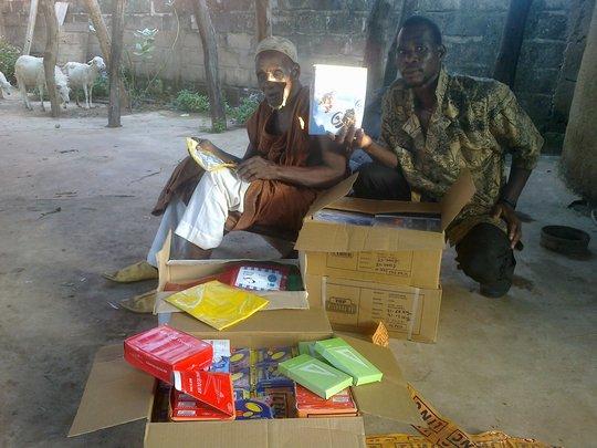 Djendji village elders (accepting school supplies)