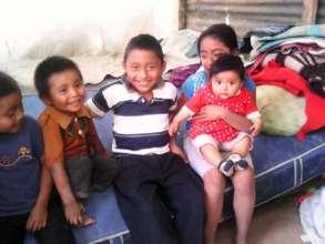 All five children enjoying time together.