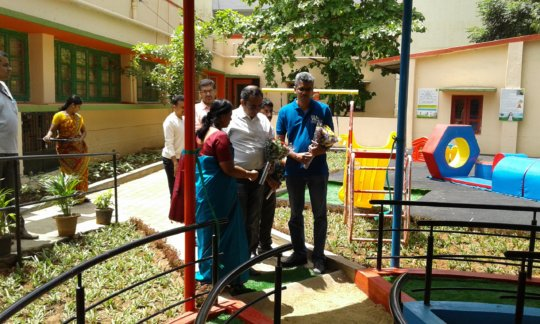 Cheif guest from Cognizant inaugurating park