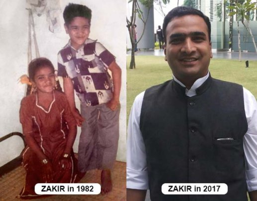 Sayyed Zakir as a kid and now