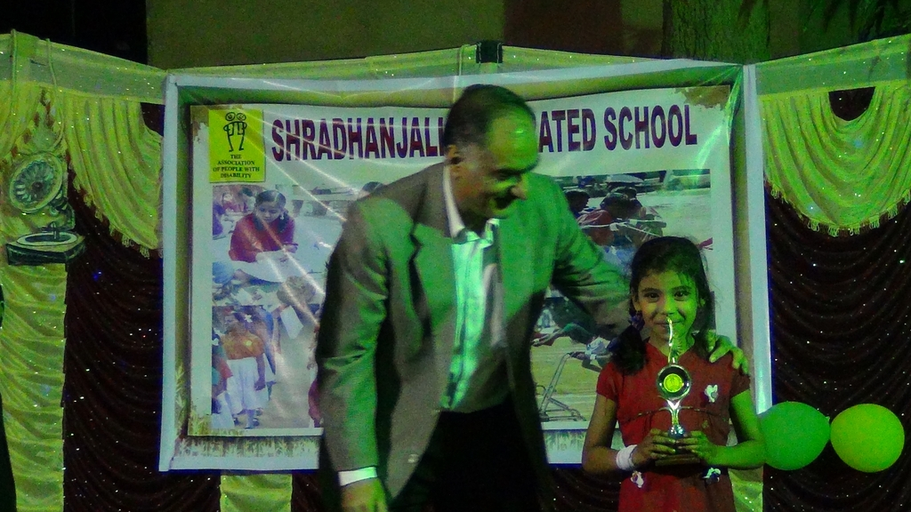 Student getting Prize during Annual day prog