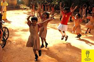 children dancing after  receiving prizez in sports