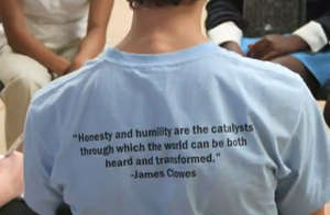 t-shirt with quote from John Clowes