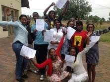Learners celebrating a 100% matric pass at branch