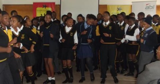 Learners making presentation at Open Day