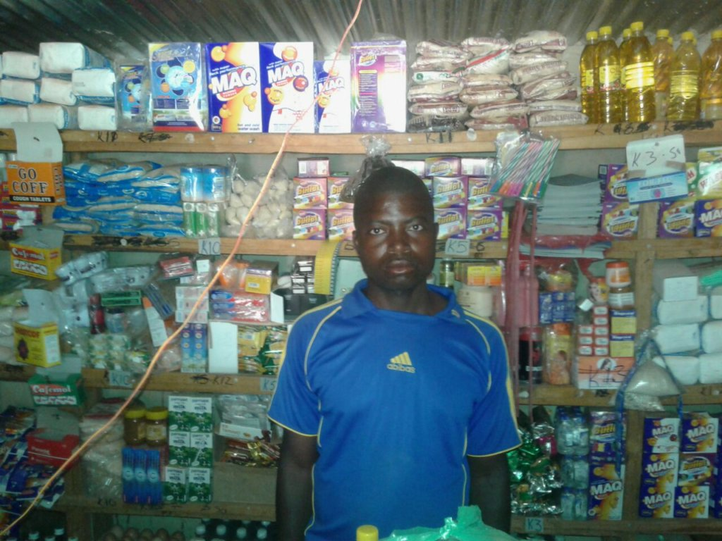 Comely in his shop in rural Mumbwa