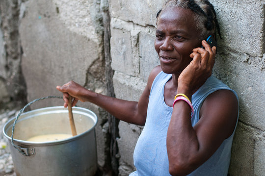 Sainte-Rose uses a phone charged by EKo Pwop power