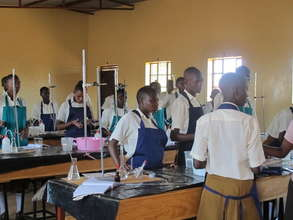 Village high school students in the lab