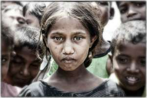 Rohingya girl in an IDP camp near Sittwe, Myanmar