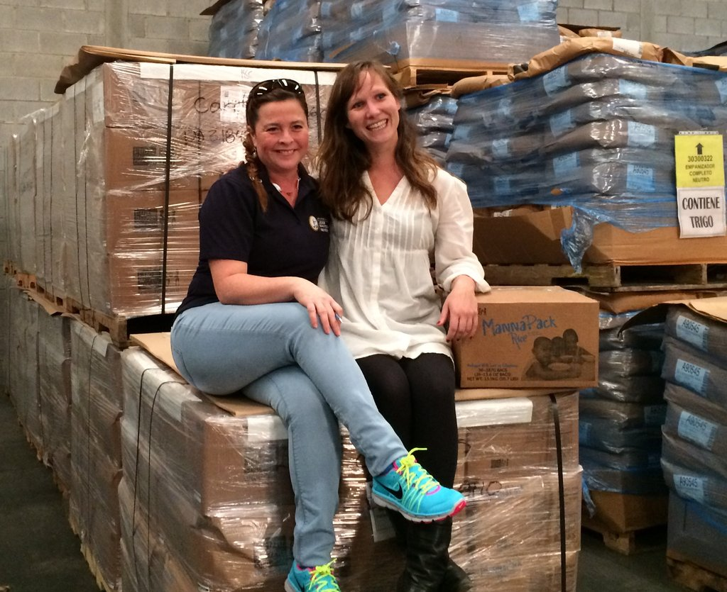 Posing with our pallet of Fortified Rice