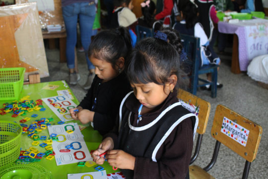Girls practicing English