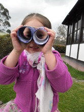 Wendy playing with her binoculars