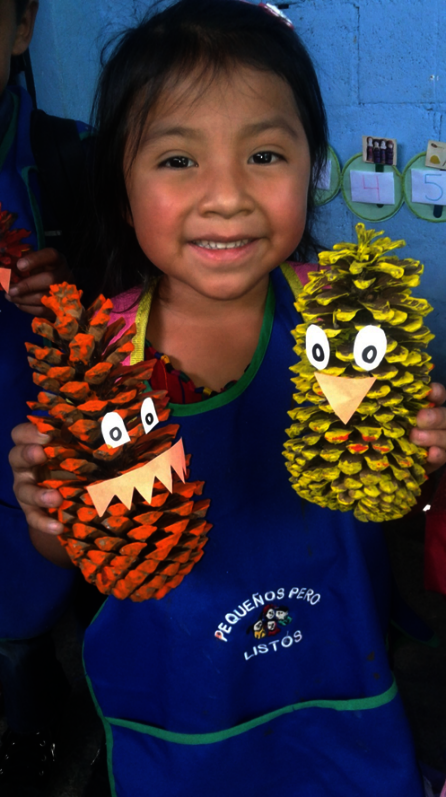 with these pinecones, the children create this