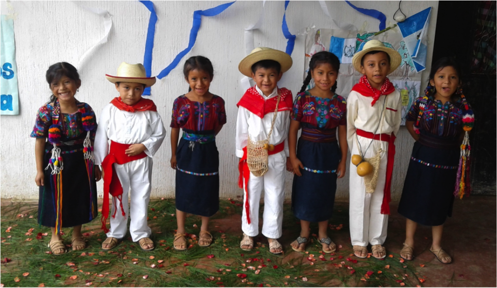 Xenacoj students in costumes of their community