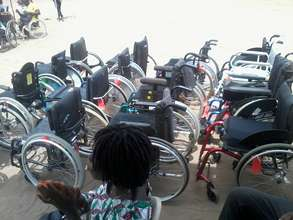 Donated wheelchairs by the MP