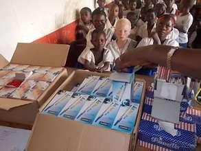 Pencils and pens awaiting distribution