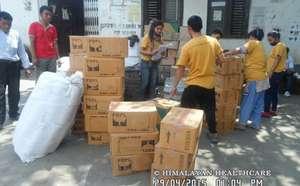 HHC's earthquake relief team sorts supplies