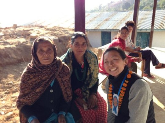 A visiting doctor (right) and two of her patients.
