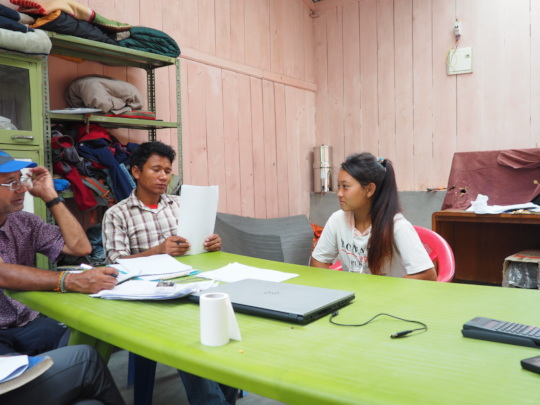 Midwife candidate interview by HHC staff, Sertung