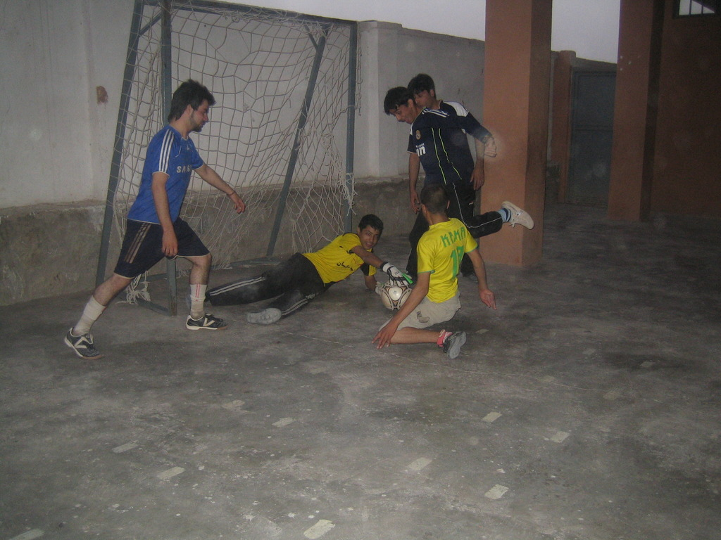 Soccer team practicing