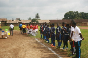 Two teams lined up before kick off
