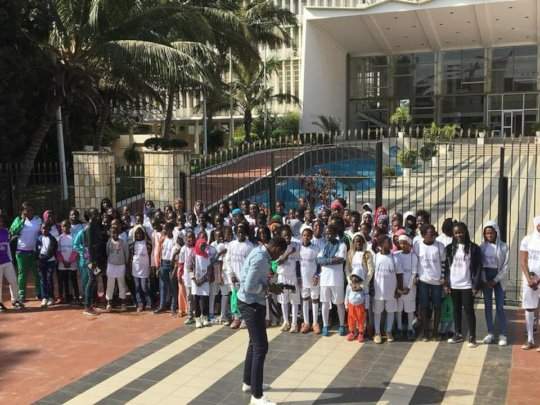Players in front of the National Assembly.