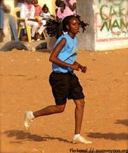 Running on the sandy field