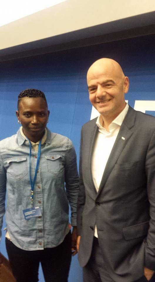 Seyni with FIFA President Gianni Infantino.