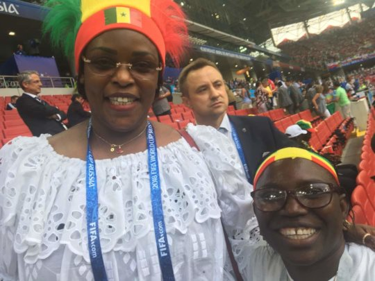 Seyni and First Lady Mareme Sall before the game