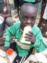 Enjoying the Mayfair bread donation