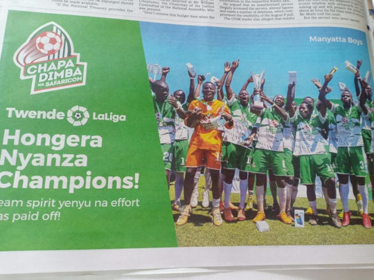 Our Chapa Dimba Tourney Champions in the News