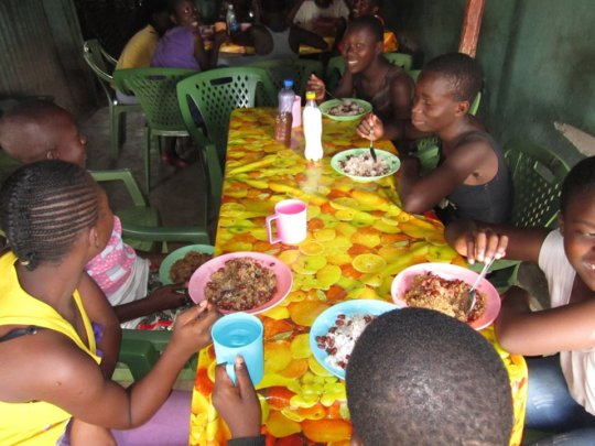 Girls enjoy meal with others every week