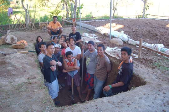 Student Work Crew in the Future Septic Tank