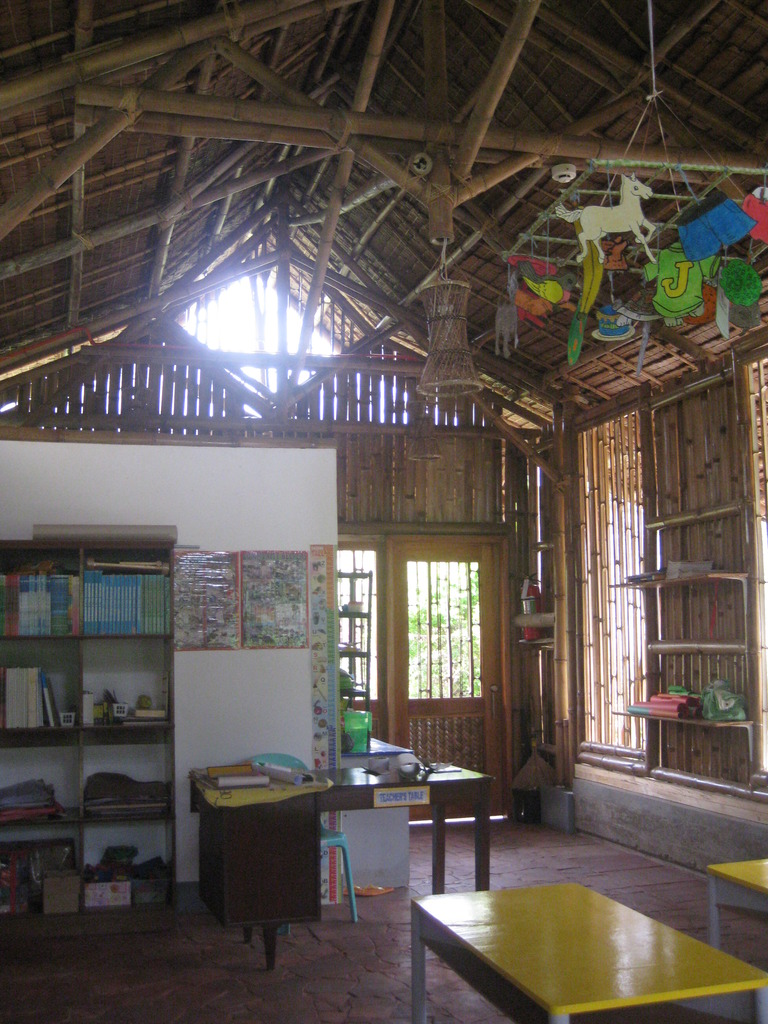 Inside the daycare center - so much bamboo!