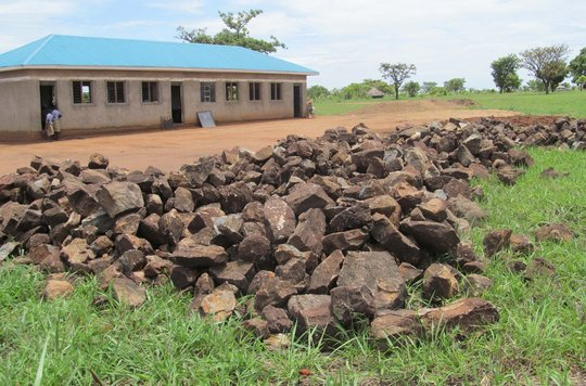 Rock and sand gathered by the community. Apr 2014