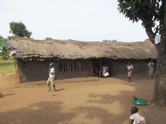 Agwata mud thatch building for Nursery students