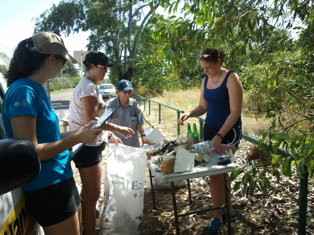 Volunteers sorting rubbish at beach cleanup
