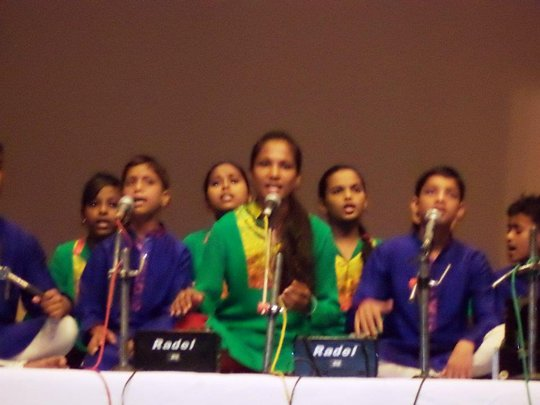 Performing at musical event