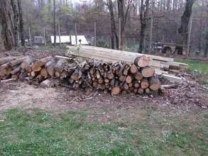 Wood we cleared for Isabelle and posts bought