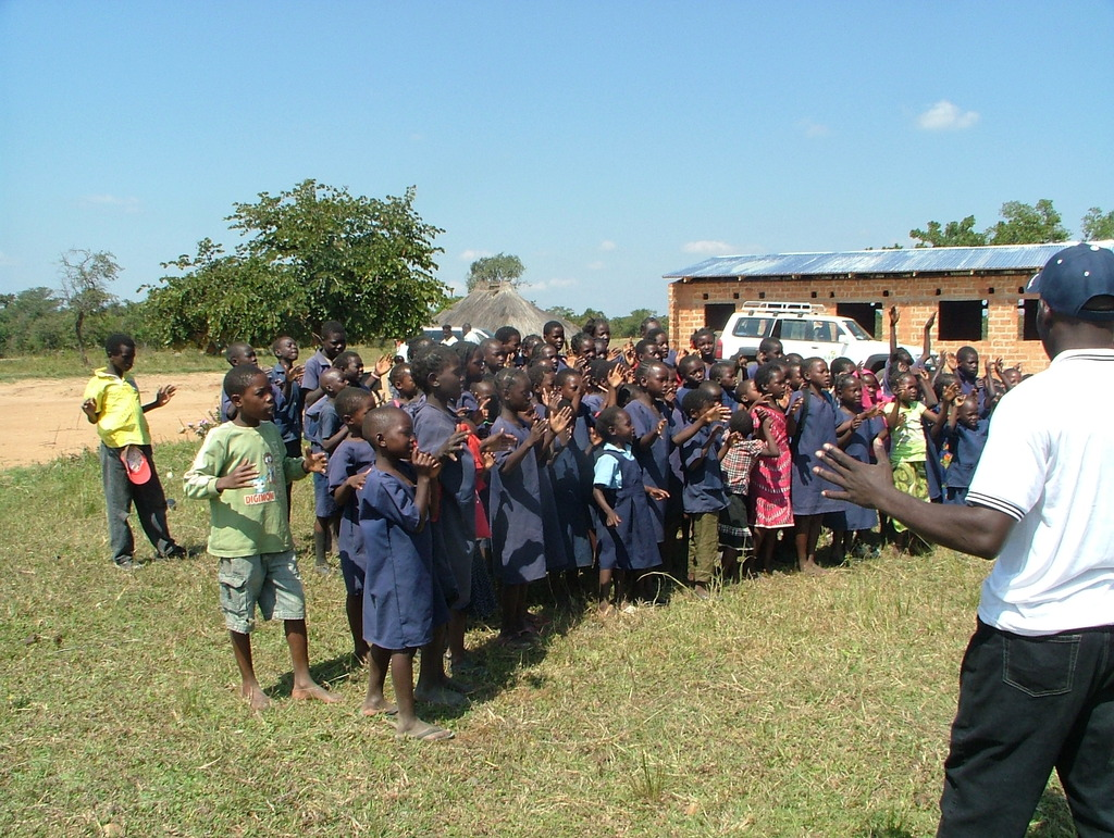 Kafwefwe pupils outside their new classroom block