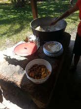 Stove used by community during volunteer activity.
