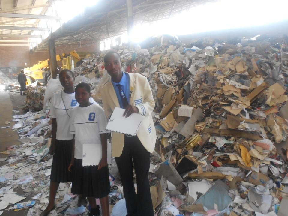 LUT students with collected recyclable waste