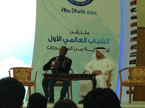 Dalumuzi giving a presentation in UAE