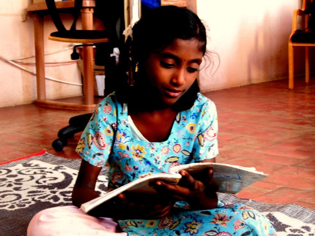 Divyabarathi revising before class