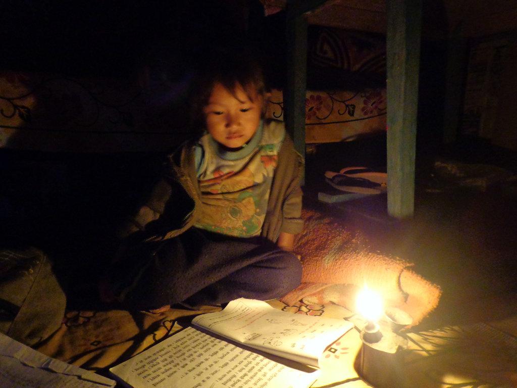 Children With Kerosene Lamp in Evening Hrs.
