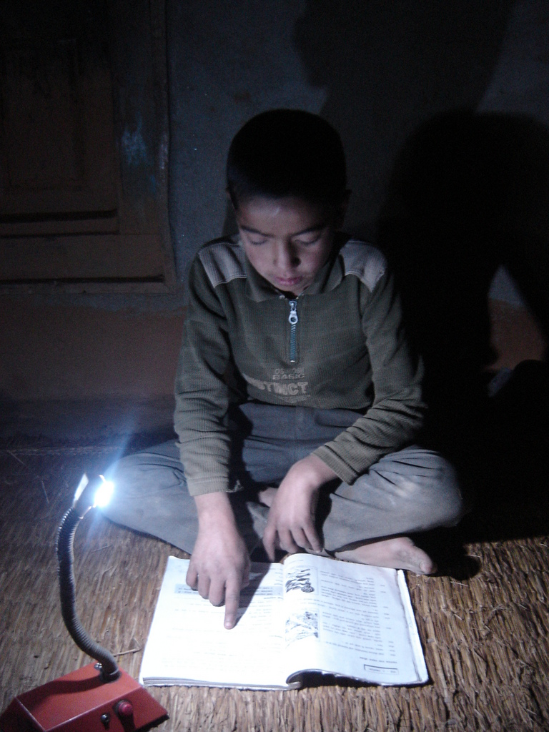 Student using solar tuki for his study