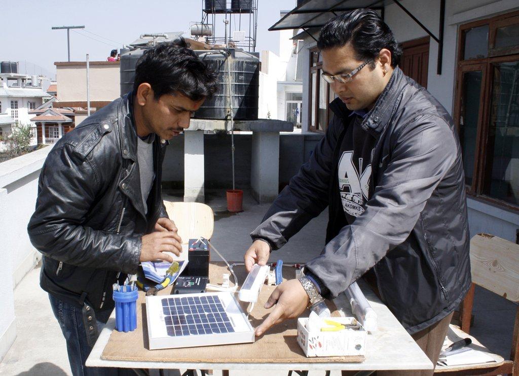 Hands on training of solar assembling