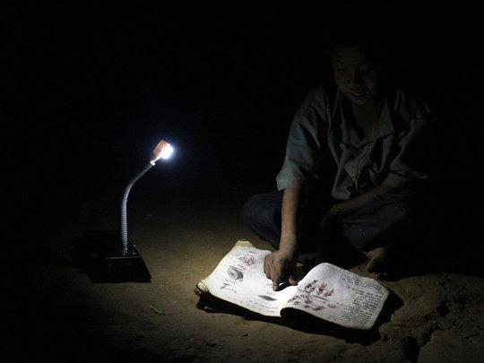 Chepang Student under solar tuki light
